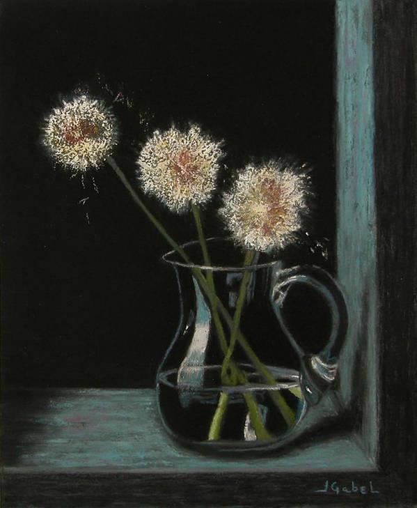 Pastel Art Print featuring the pastel Just Dandi by Laura Gabel