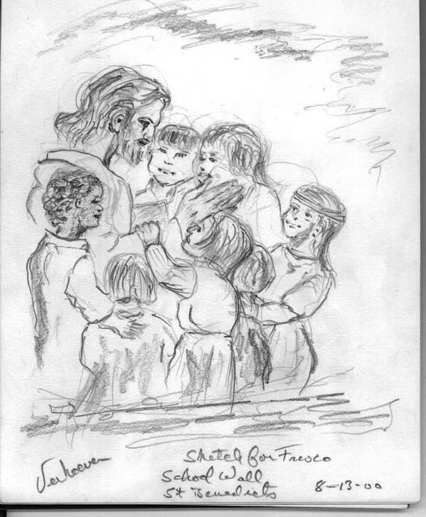 Sketch Jesus Chldren Religious Art Print featuring the drawing Keep Not The Children From Me by Alfred P Verhoeven