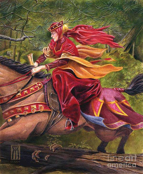 Camelot Art Print featuring the painting Lady Lunete by Melissa A Benson