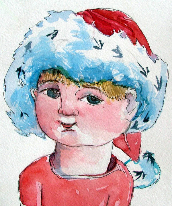 Santa Art Print featuring the painting Lexi by Mindy Newman