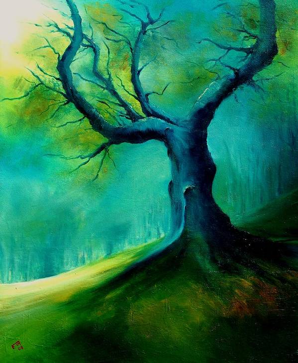 Landscape Art Print featuring the painting Light On A Dead Tree by Veronique Radelet