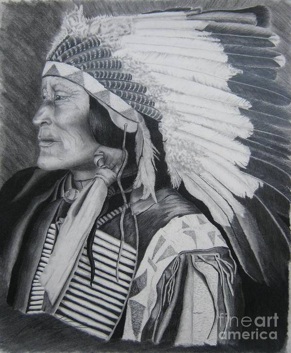 Native American Art Print featuring the drawing Lokata Chief by John Huntsman