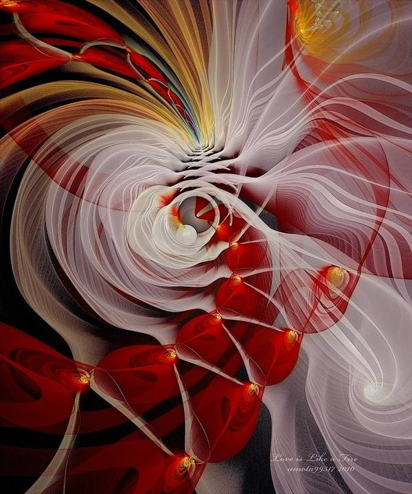 Fractal Art Print featuring the digital art Love Is Like A Fire by Gayle Odsather