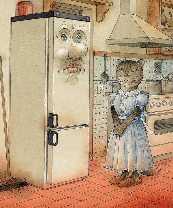 Cat Kitchen Love Art Print featuring the painting Love Story by Kestutis Kasparavicius
