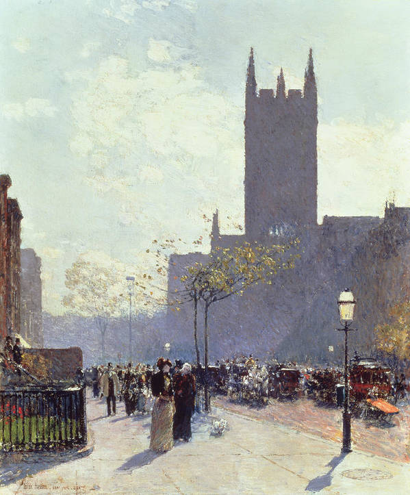 Lower Fifth Avenue Art Print featuring the painting Lower Fifth Avenue by Childe Hassam