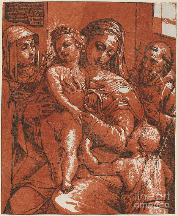 Art Print featuring the drawing Madonna And Child Accompanied By Saints by Andrea Andreani After Jacopo Ligozzi