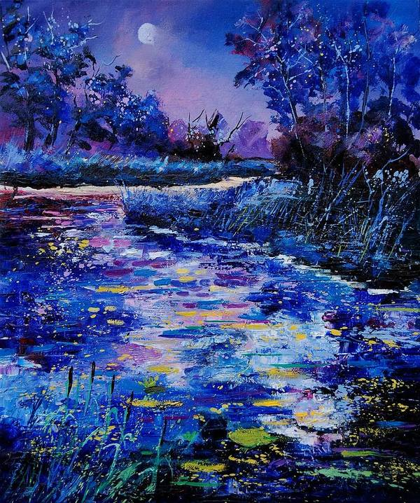 River Art Print featuring the painting Magic Pond by Pol Ledent