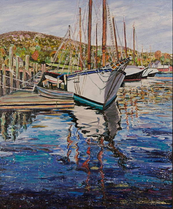 Maine Art Print featuring the painting Maine Coast Boat Reflections by Richard Nowak