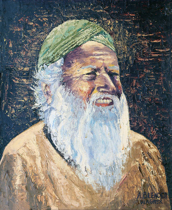 India Art Print featuring the painting Man In The Green Turban by Arline Wagner