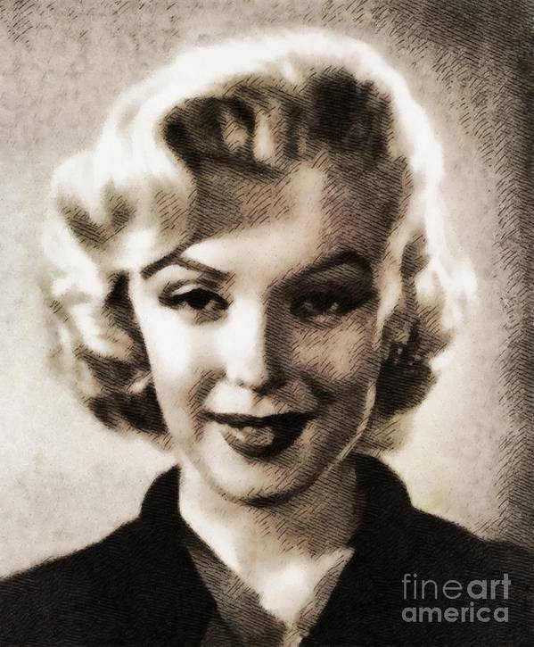 Hollywood Art Print featuring the painting Marilyn Monroe, Vintage Actress by John Springfield
