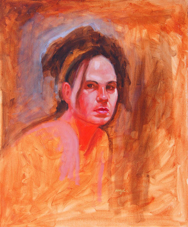 Portrait Art Print featuring the painting Maza by John Tartaglione