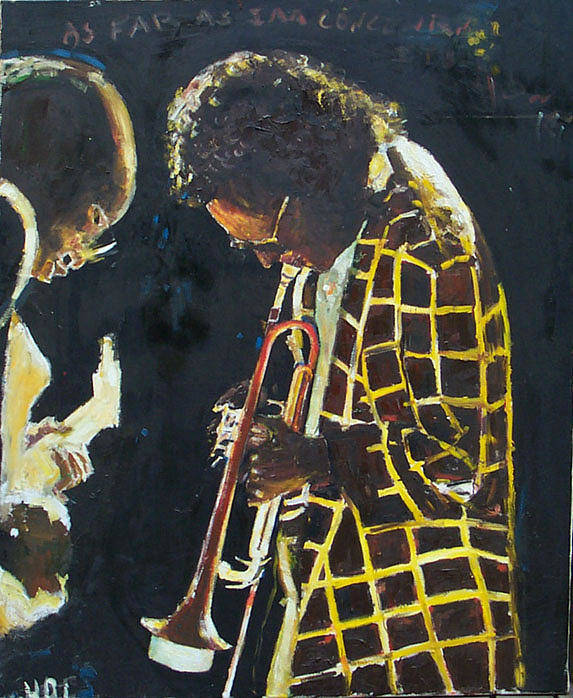 Jazz Miles Davis Oil Paintings Music Art Print featuring the painting Miles Davis And A Guitar Player by Udi Peled