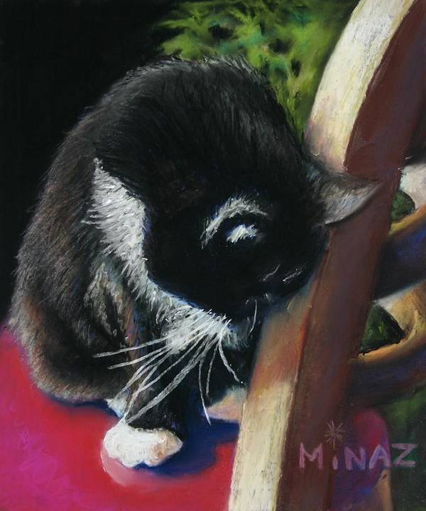 Cat Art Print featuring the painting Kitty Chair by Minaz Jantz