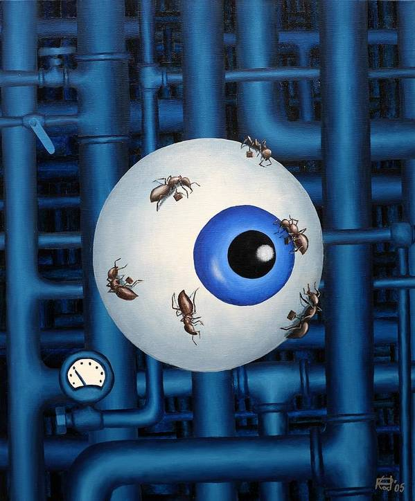 Steampunk Pipes Eye Ants Clock Industrial Surreal Art Print featuring the painting My Day Job by Poul Costinsky