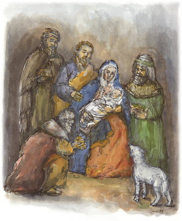 Nativity Art Print featuring the painting Nativity by Walter Lynn Mosley