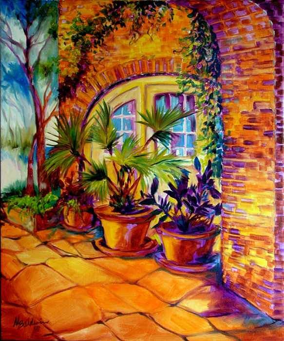 New Orleans Art Print featuring the painting New Orleans Courtyard By M Baldwin by Marcia Baldwin