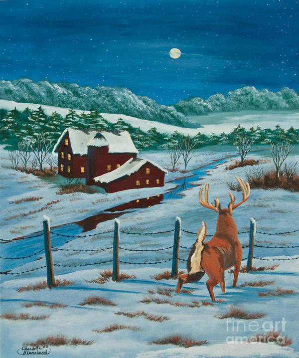 Deer Paintings Art Print featuring the painting Night Watch by Charlotte Blanchard