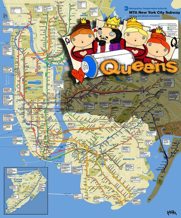 Queens Mta Subway Map.Nyc Subway Map Queens Art Print