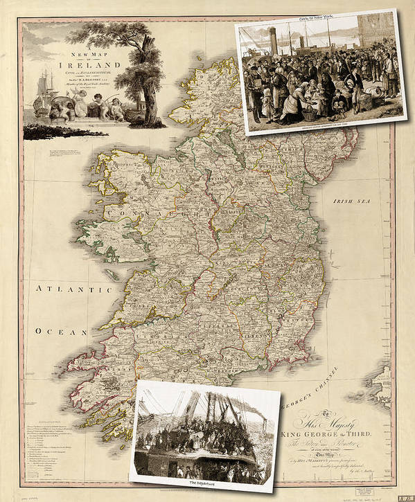 Print Map Of Ireland.Vintage Map Of Ireland With Old Irish Woodcuts Art Print