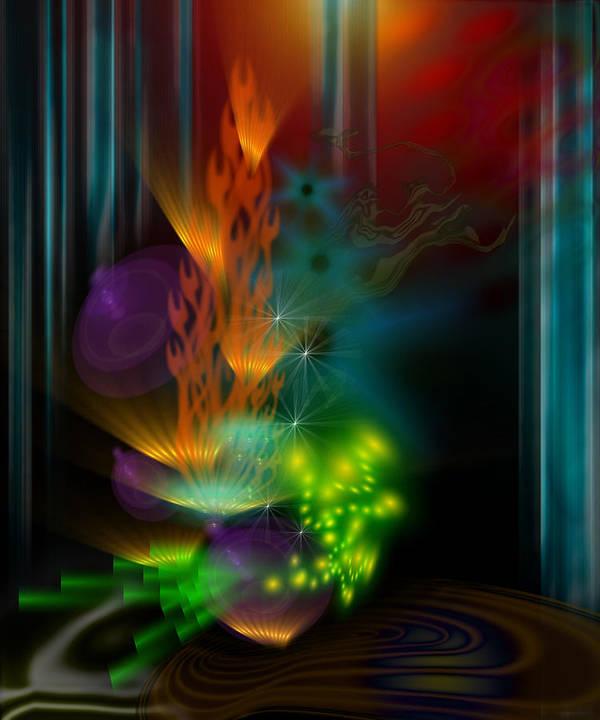 Abstract Art Print featuring the digital art One Flame by Aleksandar Zisovski
