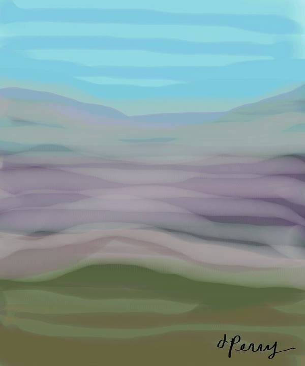 Landscape Art Prints Art Print featuring the painting Outlook by D Perry