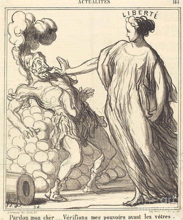 Art Print featuring the drawing Pardon Mon Cher... by Honor? Daumier