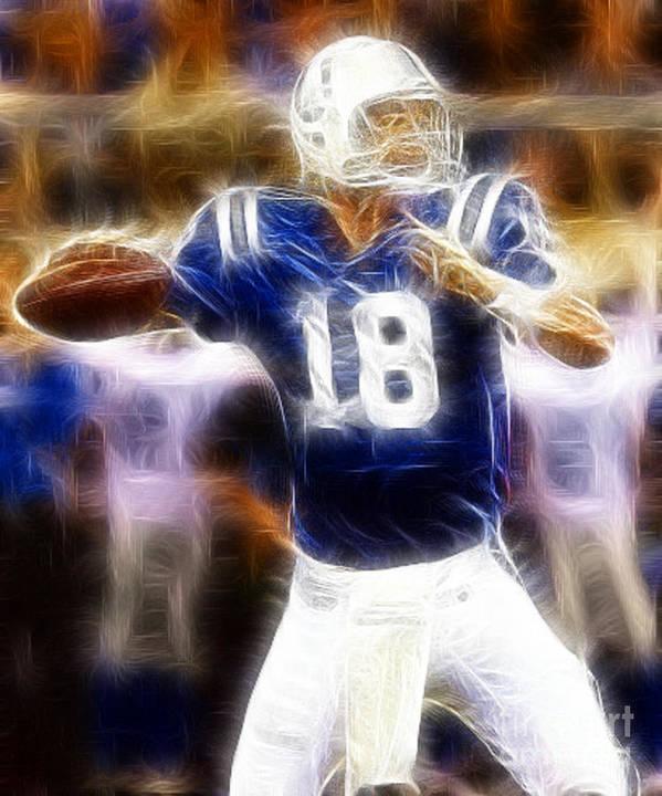 Peyton Manning Print featuring the digital art Peyton Manning by Paul Ward