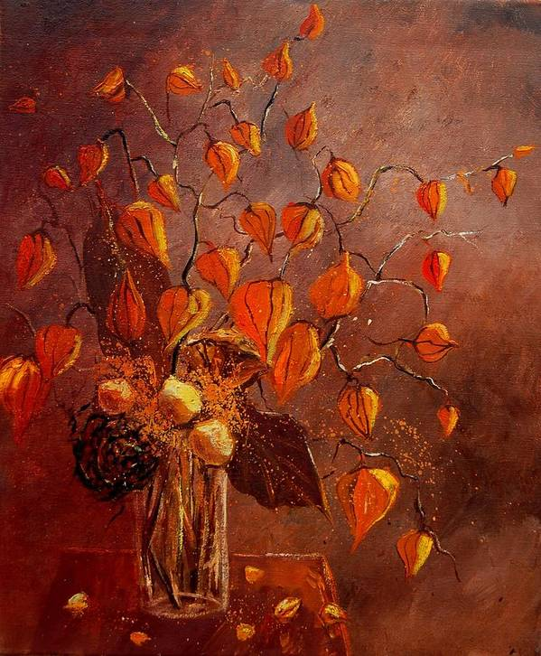 Poppies Art Print featuring the painting Physialis by Pol Ledent