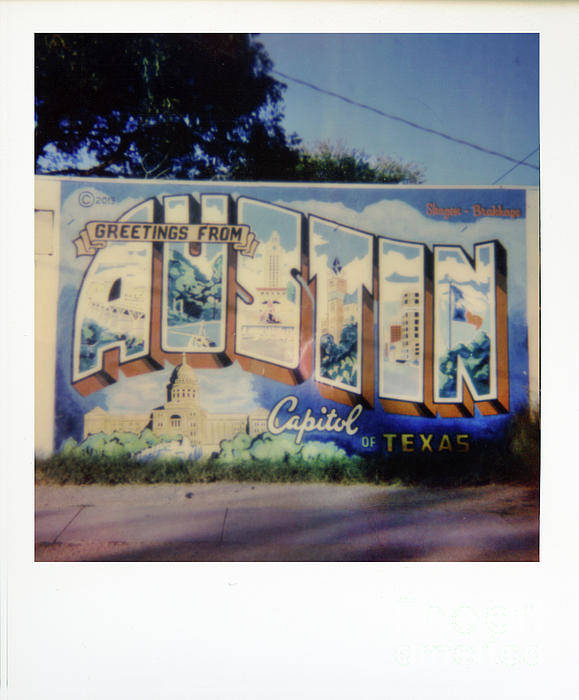 Greetings From Austin Capitol Of Texas Art Print featuring the photograph Polaroid Instant Picture Of The Famous by Herronstock Prints