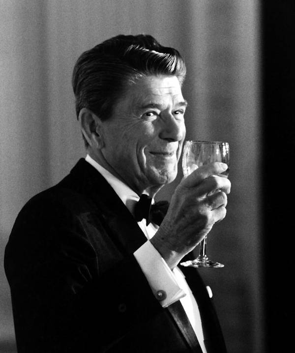 Ronald Reagan Art Print featuring the painting President Reagan Making A Toast by War Is Hell Store