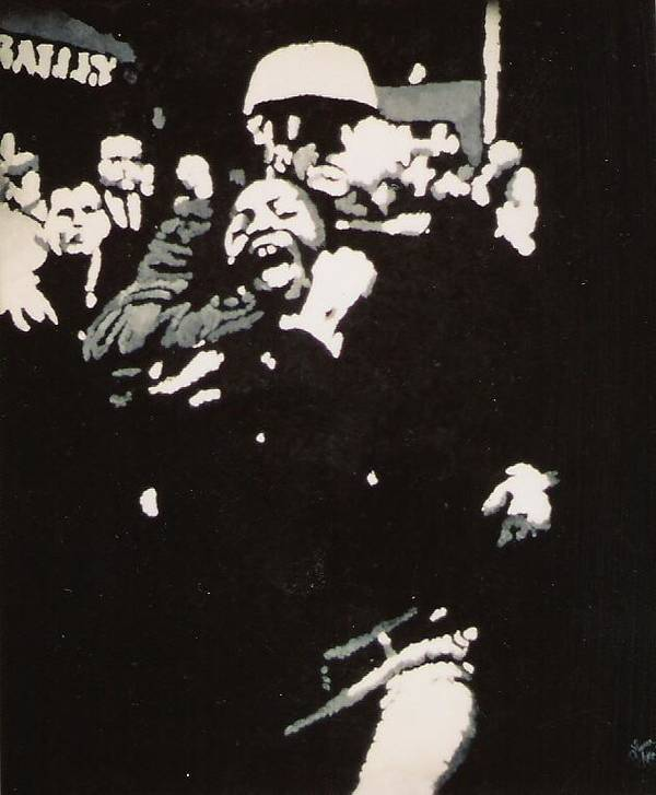 Civil Rights Art Print featuring the painting Protestor Yells To The Photographer During An Arrest 1968 by Lauren Luna