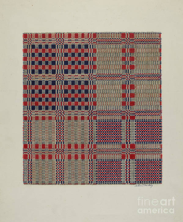 Art Print featuring the drawing Red, White & Blue Coverlet by Arthur G. Merkley