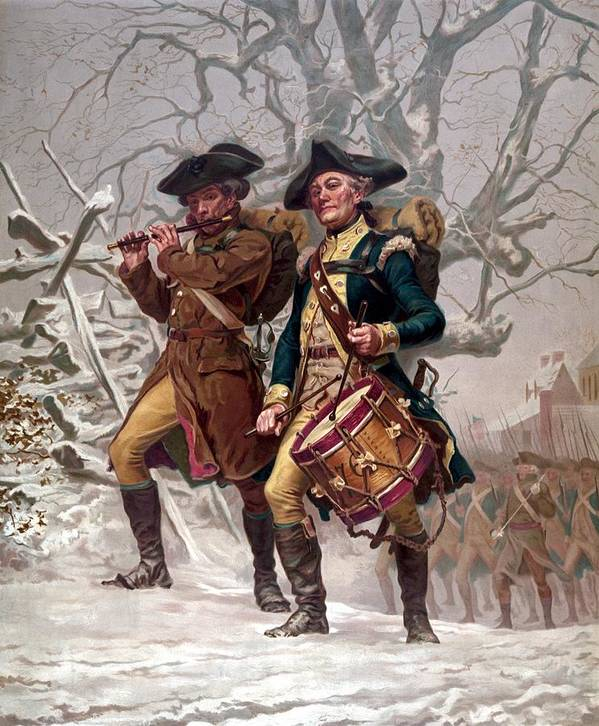 Minutemen Art Print featuring the painting Revolutionary War Soldiers Marching by War Is Hell Store
