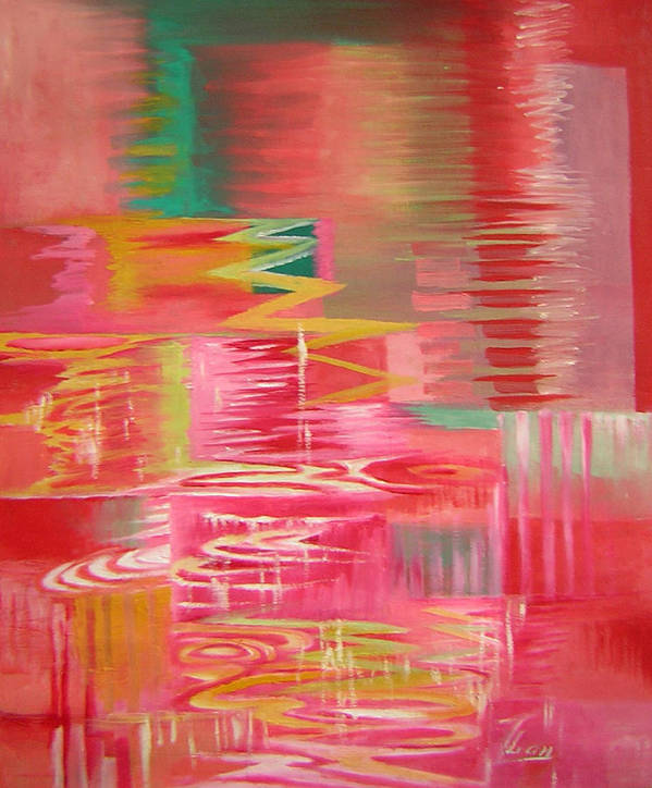 Abstract Art Print featuring the painting Ripples No.3 by Lian Zhen