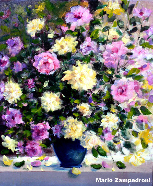 Roses Art Print featuring the painting Roses by Mario Zampedroni