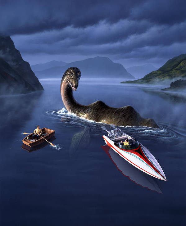 Loch Ness Monster Art Print featuring the painting Scottish Cuisine by Jerry LoFaro
