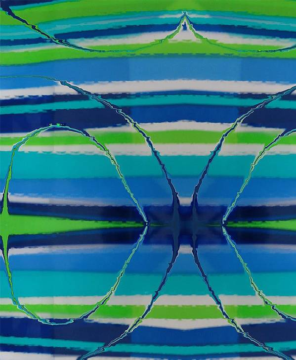 Abstract Art Print featuring the painting See Thru Blue by Florene Welebny