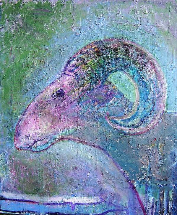 Sheep Animals Art Print featuring the painting Sheep by Dave Kwinter