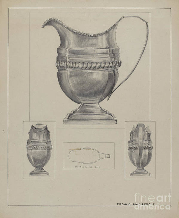 Art Print featuring the drawing Silver Creamer by Francis Law Durand