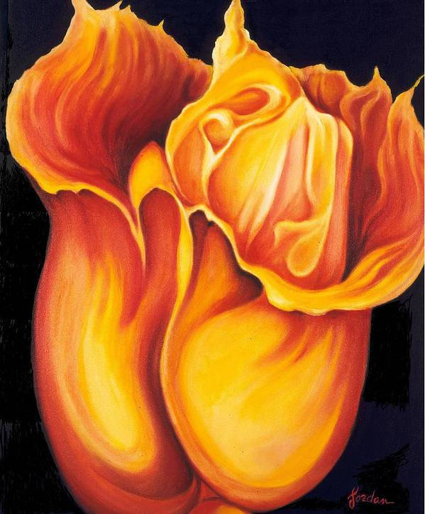 Surreal Tulip Art Print featuring the painting Singing Tulip by Jordana Sands