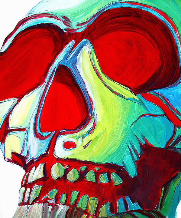 Abstract Art Print featuring the painting Skull Original Madart Painting by Megan Duncanson