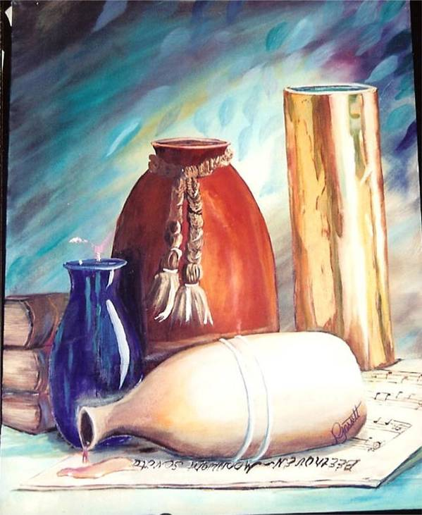 Vase Art Print featuring the painting Spill Over Beethoven by Joan Gossett