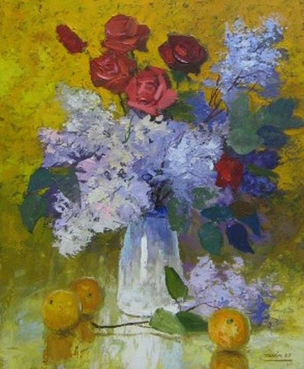 Still Life Art Print featuring the painting Spring Bouquet by Netka Dimoska