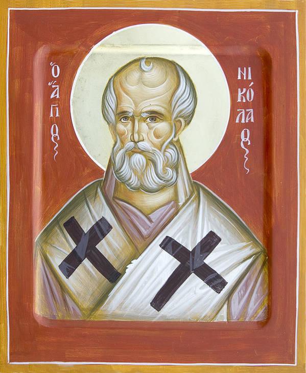 St Nicholas Of Myra Art Print featuring the painting St Nicholas Of Myra by Julia Bridget Hayes