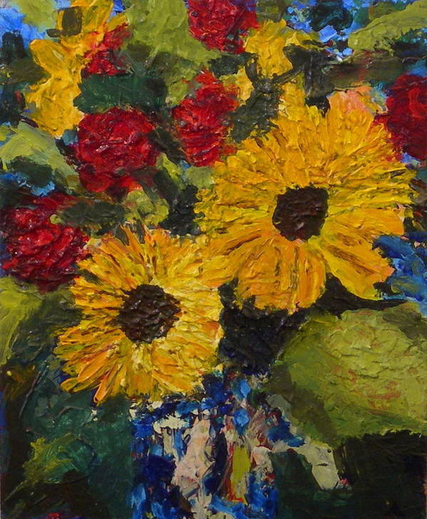 Vase Art Print featuring the painting Sun Flowers by Jan Rapp