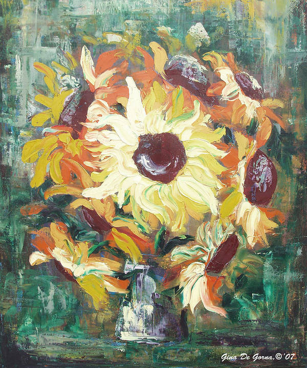 Sunflowers Art Print featuring the painting Sun In A Vase by Gina De Gorna