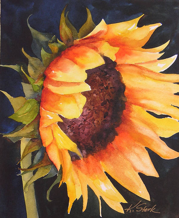 Floral Art Print featuring the painting Sunflower by Karen Stark