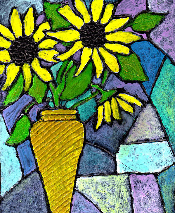 Flowers Art Print featuring the painting Sunflowers In A Vase by Wayne Potrafka