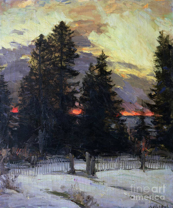 Sunset Art Print featuring the painting Sunset Over A Winter Landscape by Abram Efimovich Arkhipov