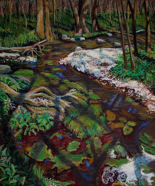 Swamp Art Print featuring the painting Swamp Moss Shadows by Art Nomad Sandra Hansen